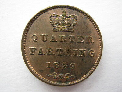 1839 copper Quarter Farthing A UNC
