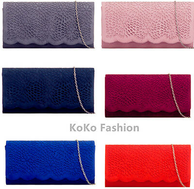 Floral  Suede Evening Clutch Party Prom Wedding Bag H953 10 Colors