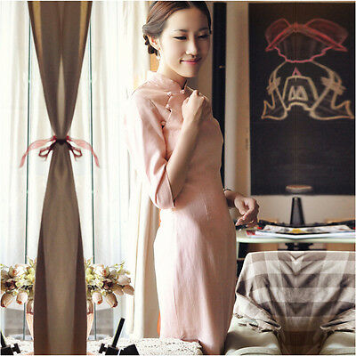Autumn Traditional Chinese Dress Bamboo Linen Vintage Qipao Pink YJZQ