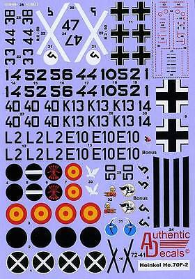 Authentic Decals 7241 Heinkel He 70F-2 1/72 combined shipping