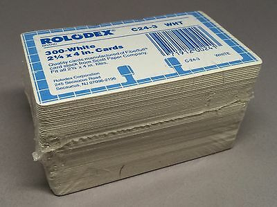 """300 Rolodex C24-3 WHT White Index Cards Size 2 1/4"""" x 4"""" Refill Replacement"""