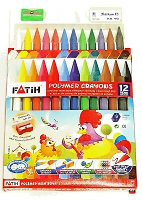 12 Childrens Crayons. Sharpener and Eraser Included. Non-toxic.
