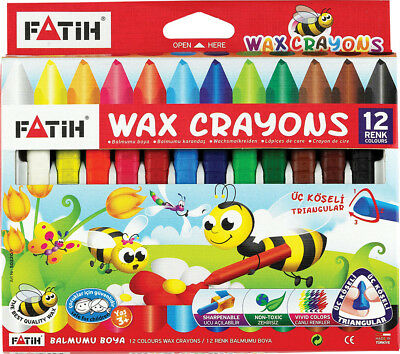 12 Quality Jumbo Wax Crayons. Non-toxic & Vivid Colours. Triangular for comfort.
