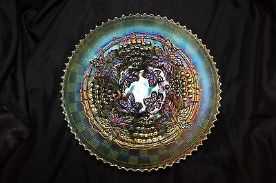 Green Northwood Grape & Cable Antique Carnival Glass Bowl Plate Excellent