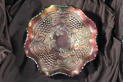 Northwood Grape & Cable Fiery Amethyst Carnival Glass Ruffled Bowl Mint!