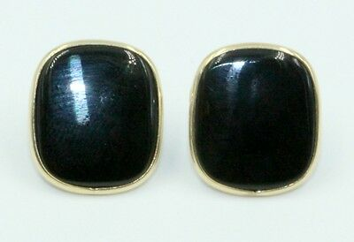Black Onyx Stud Earrings 14k Yellow Gold Post And Push Backs