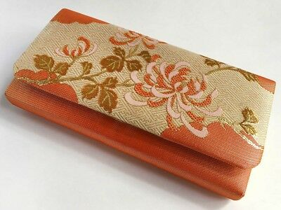 Vintage Japanese Gold Metalic Brocade Clutch Bag For Use When Wearing Kimono: M