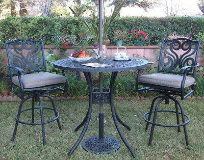 Outdoor Patio Aluminum Furniture 3 Piece Bar Table Set with 2 Swivel Arm Chairs