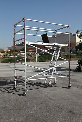 Aluminum Scaffold Rolling Tower 8' Deck H With Guard Rail CBMscaffold