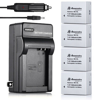 NB-10L Battery&Charger Kit for Canon Powershot G16 G15 G1 X SX40 HS SX50 SX60 HS