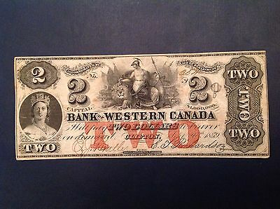 - 1859 Bank of Western Canada Two 2 Dollars Queen Victoria