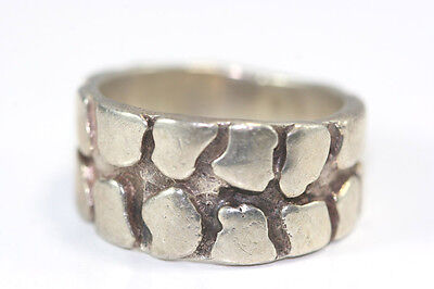"""B626 Tire Track Tread Ring Sterling 6.8g 925 3/8""""W Size 7 1/2"""