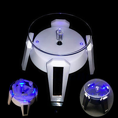 Solar 360° Power Jewelry Phone Watch Rotating Display Stand Turn Table LED Light
