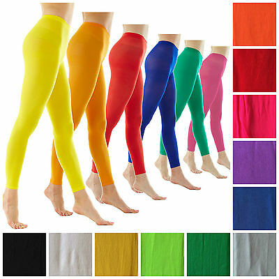 Ladies Footless Tights Stockings Pantyhose Opaque Fluro Dance Costume