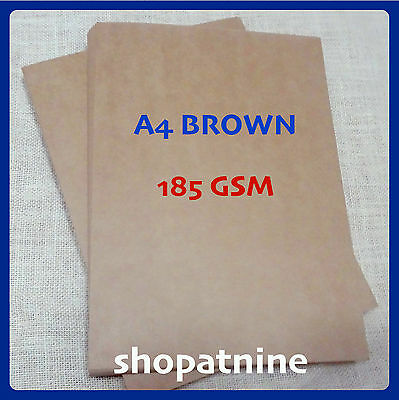 100 A4 Brown Kraft Paper Sheet 185 GSM Card Natural Recycled Invitation Wedding
