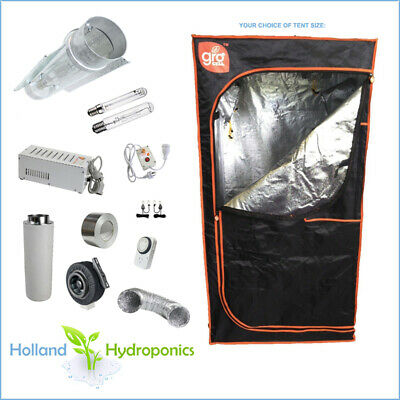 """Hydroponic Set Up 4"""" Combo Kit HPS MH Carbon Filter Fan Grow Tent Lighting"""