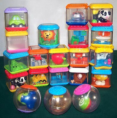Lot of 20 Fisher-Price Peek-a-Blocks & Roll-a-Rounds - Good to VGC