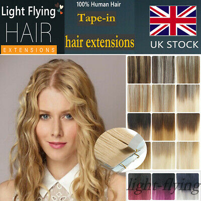 14''-24''Straight Remy Tape In Skin Human Hair Extensions Mixed/Ombre Color UK7A