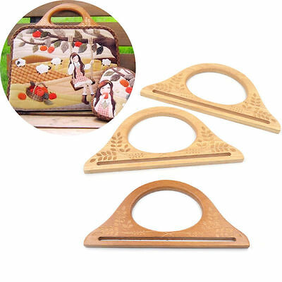 1 Pair Solid Wood Wooden DIY Handbag Bag Purse Handle Handmade Accessories New