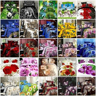3D Effect Floral Printed Duvet Quilt Cover Bedding Set Sheet/Pillow Cases
