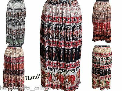 30 Pcs Lot of Women Skirt Casual Rayon Skirt Fashionable Wrinkled Hippie Skirts