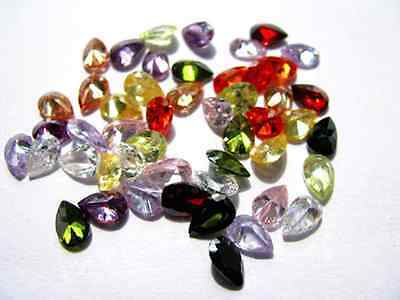Cubic Zirconia Pear AAA Multi-Color CZ Loose Stones Lot (4x3mm - 18x13mm)