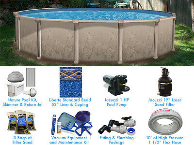 Nature 15 ft Round Standard Above Ground Swimming Pool Complete Package