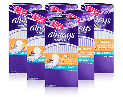 6x Always Dailies NORMAL UNSCENTED 20 Individually Wrapped Pantyliners Singles