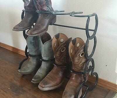 The Heritage Forge 8 pairs Rustic Double Decker Horseshoe Boot Rack