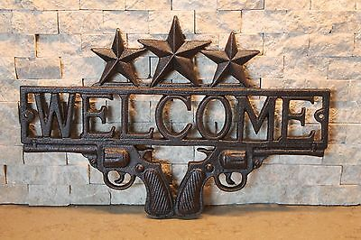 Cast Iron Antique Style Pistols Gun WELCOME Plaque Rustic Ranch Wall Decor