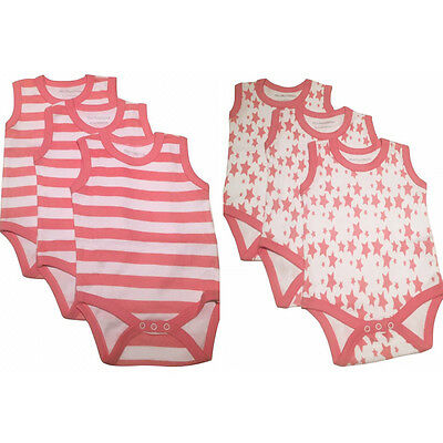 3 pink striped 3 pink stars new sleeveless baby vests grow romper 0-24 months