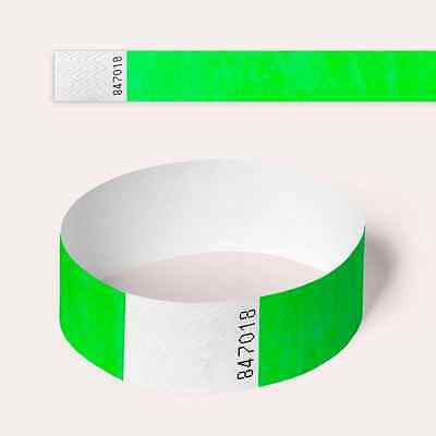 Neon Green Tyvek Wristbands, Plain and Custom Printed Paper Like Security Party