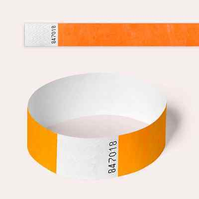 Neon Orange Plain and Customised Printed Tyvek Wristbands, Paper Like, Security,