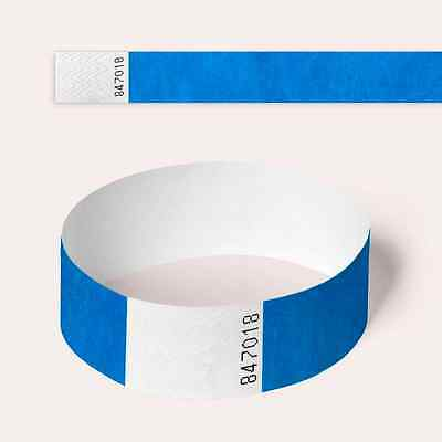 Blue Plain and Customised Printed Tyvek Wristbands, Paper Like, Security, Party