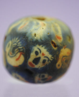 Islamic Medieval Glass Face Bead 9Th-10Th Century Ad