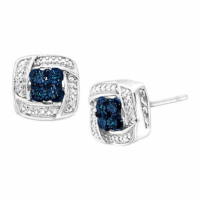 Stud Earrings with Blue & White Diamonds in Sterling Silver & 3K Posts