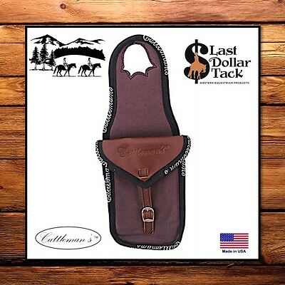 Cattleman's Western Saddle Single Horn Bag ~ Brown Canvas & Leather~Trail Riding