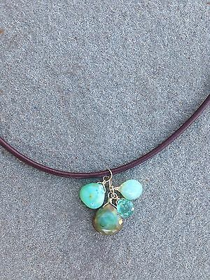 Teal Peruvian Opal Leather Handmade Necklace to Support Ovarian Cancer