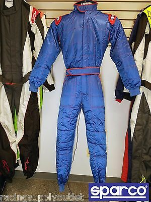 Sparco STR Go Kart Racing Suit FIA Blue 2 Layer  Size Small  [In the USA]