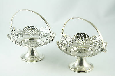 Vintage Silver Plated Pierced Bonbon Baskets Made in England