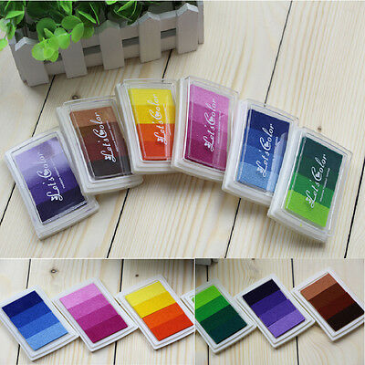 DIY Craft Multi Colors Ink Pad Oil Based For Rubber Stamps Paper Wood Fabric THI
