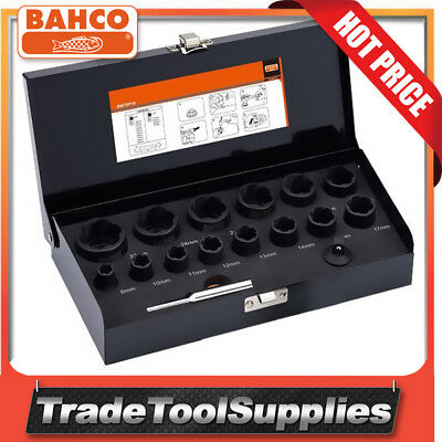 "Bahco 16 Piece 1/2"" 3/8"" Twist Socket Set Damaged Screws & Bolts Removal BWTSP16"