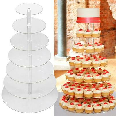 7 TIER ROUND Cupcake Dessert Stand - Clear Acrylic Display Tower Wedding & Party