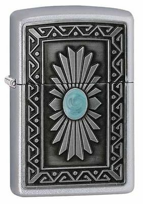 Zippo Windproof Satin Chrome Lighter With Southwest Sun Emblem, 29105 New In Box