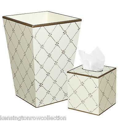 """""""chesterfield"""" Wooden Wastebasket & Tissue Box Cover Set - Ivory"""