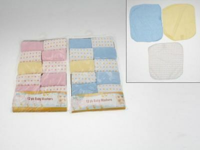 12 x 12 pk Baby Washer flannel generous size bulk wholesale lot reduced to clear