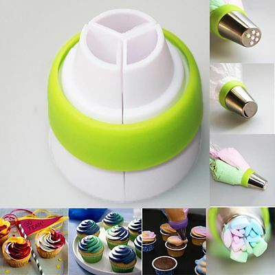 3 color Russian Icing Piping Bag Nozzle Converter Coupler Cake Cream Decor Tool