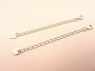 925 Sterling Silver NECKLACE Chain EXTENDER Extension w/DROP End + Lobster CLASP