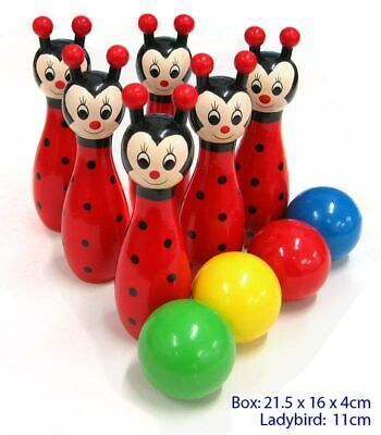 NEW Fun Factory Childrens Wooden Bowling Skittles Game Set Ladybird