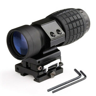 New 3X Magnifier Tactical Hunting Scope Sight W/ Flip To Side 20mm Rail Mount